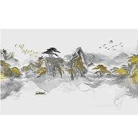 Hhkkckウォールステッカーシンプルな中国風水インク風景背景壁紙壁画家の装飾