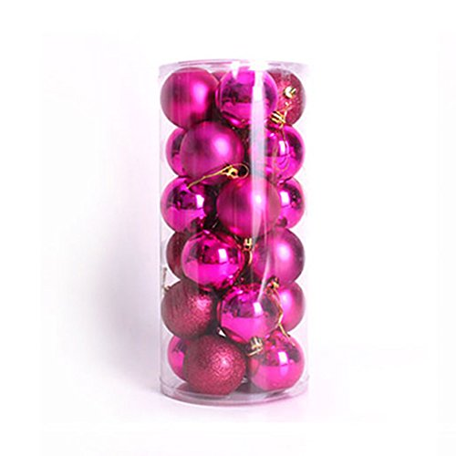 Outflower クリスマスボール オーナメント ツリー デコレーション クリスマス ボール グリーン 装飾 華やか 飾り ロマンティック クリスマスボールオーナメント 人気 6cm 24個セット