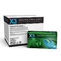 AMMEX - X346100 - ニトリル手袋 - X3 - 使い捨て、粉末フリー、工業用、3ミル、大、青(ケース1000)