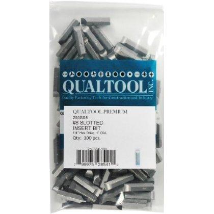 Qualtool Premium 250SS8-100 Size 8 Slotted Insert Bit, 100-Pack [並行輸入品]