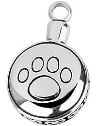 【ノーブランド 品】ヴィンテージ  ステンレススチール 犬の肉球形 ミニ骨壺 手元供養 ペンダント 銀色