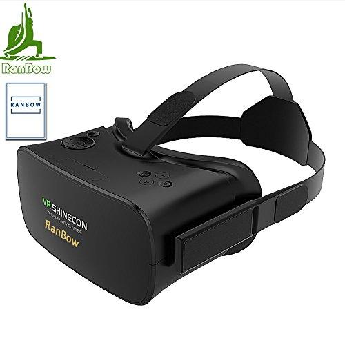 RanBow 3D VRメガネ ヘッドフォン一体型よいつけ心地高品質高通気性VR 大画面で超3D映像効果360度動画仮想現実360度バーチャル空間 素晴らしい没入感格別な臨場感を体験 焦点/瞳孔距離調節可能ヘッドセット実装頭部装着ストラップ設計映画/ゲームに適用操作便利