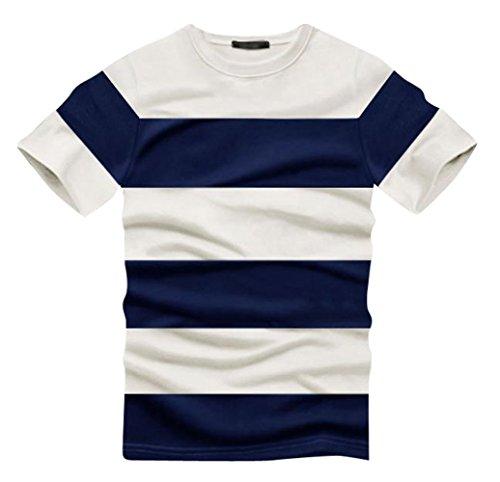 (UN ANANAS) ボーダー おしゃれ メンズ シャツ ワイシャツ トップス カットソー M L XL 2XL 大きい サイズ (L ネイビー)