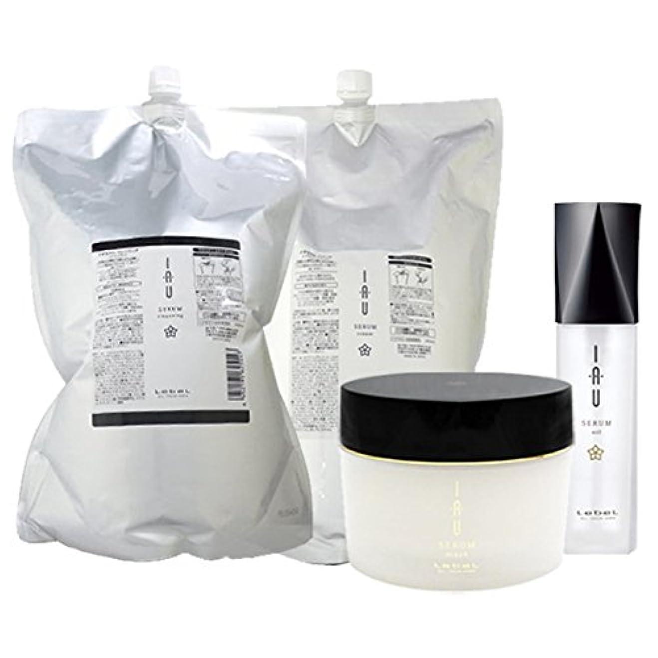 段階柔和異形ルベル イオ セラム クレンジング(シャンプー) 2500mL + クリーム(トリートメント) 2500mL + マスク 170g + オイル エッセンス 100mL 4点セット 詰め替え lebel iau serum