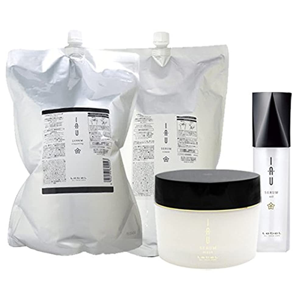 ルベル イオ セラム クレンジング(シャンプー) 2500mL + クリーム(トリートメント) 2500mL + マスク 170g + オイル エッセンス 100mL 4点セット 詰め替え lebel iau serum