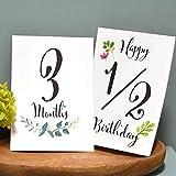 3才まで使える!ベビーマンスリーカード 月齢カード・水彩葉 ハガキサイズ16枚 説明書・専用封筒付き 赤ちゃんの月齢フォトに!