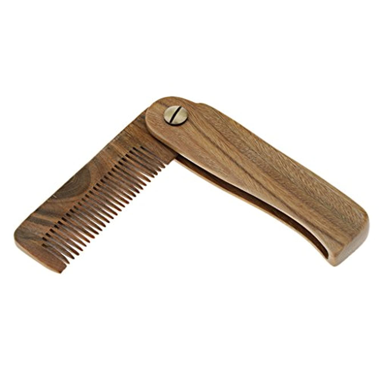 誤解西部以来Toygogo 折り畳み式木製櫛ひげと口ひげグルーミングスタイリング櫛男性用静電気防止 - A