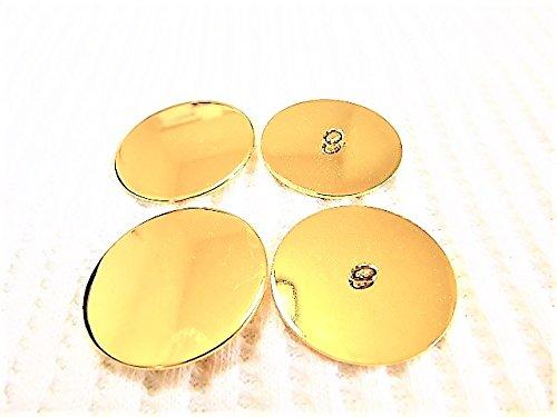 35mm 大きな 金色 プレ-ン 鏡面仕上げ メタル 金属 ボタン 2個入り