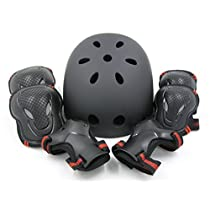 (エムズダイス)M's Dice ヘルメット & プロテクター 3点 セット ( 手首/ひじ/ひざ パッド ) 3カラー S~L サイズ スケボー ローラースケート (05.赤 Mサイズ)