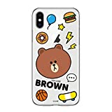 LINE FRIENDS iPhone XS ケース iPhone X ケース CLEAR SOFT BASIC BROWN TPU アイフォン カバー 5.8インチ ワイヤレス充電対応【日本正規代理店品】 KCL-CBS001