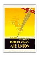 ロンドンパリ - ゴールデン線 - 航空連合、フランスの航空会社 - ビンテージな航空会社のポスター によって作成された エドモンド・マウルス c.1929 - アートポスター - 33cm x 48cm