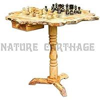 Olive wood rustic chess set board 50 cm with stand 60 cm - wooden pieces - オリーブウッド素朴なチェスセットボードスタンド60センチメートル50センチメートル - 木製枚