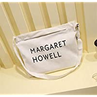 Student Tote Bag, Female Canvas Shoulder Bag Beach Commuting File Shopping Handbag (White) Polykor