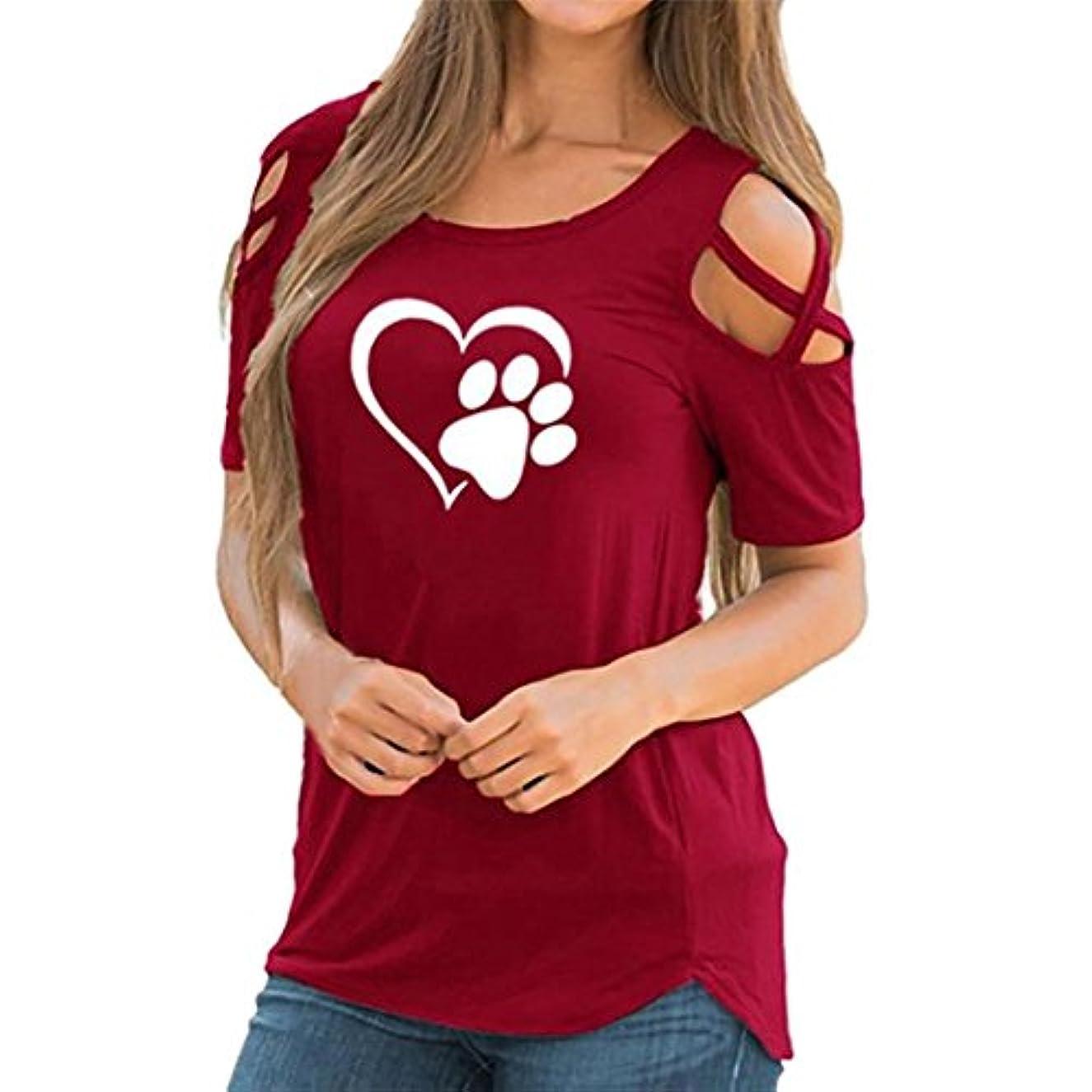 藤色器具収束SakuraBest 女性 オフショルダー半袖プリント大サイズTシャツ
