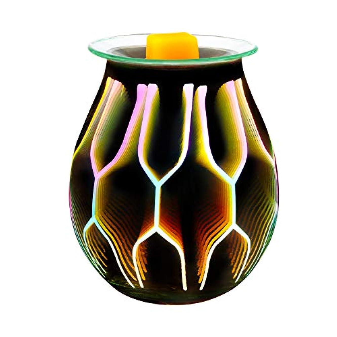 繁殖毎月近代化するCOOSA Electric Oil Warmer、美しいガラスワックスTartスターバーストNight Burnerライトアロマ装飾ランプwith 3d効果ギフトの装飾、パーティー、