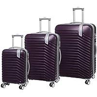 IT LUGGAGE Hardside Luggage Set, 3 Piece, Large 80cm + Med 70 cm + Small 54cm, Potent Purple
