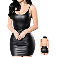 Women Latex Dress Sleeveless V-Neck Summer Clubwear Outfits Party Black Backless Leather Dresses Cosplay Fancy Lingerie Dress Forwomen(Black,S)