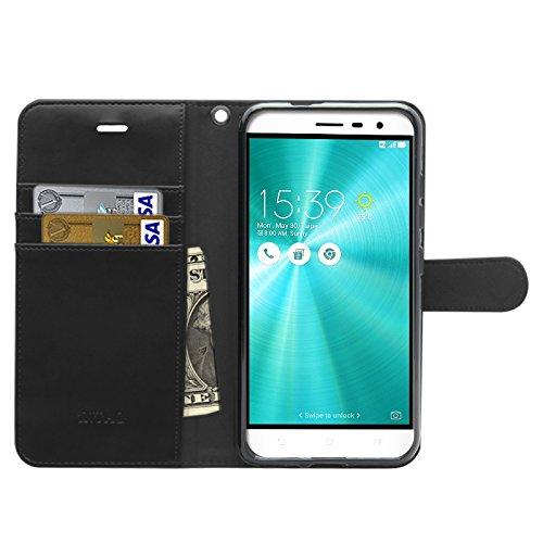 iNTAG ZenFone 3 5.2インチ ZE520KL 手帳型 ケース レザー ストラップ 付き ヴィンテージ スマホ 対応 カバー Vintage Leather Strap Diary Case (手帳 カバー カード収納 スタンド機能) ブラック iN-VTGSTZF3-52-BK