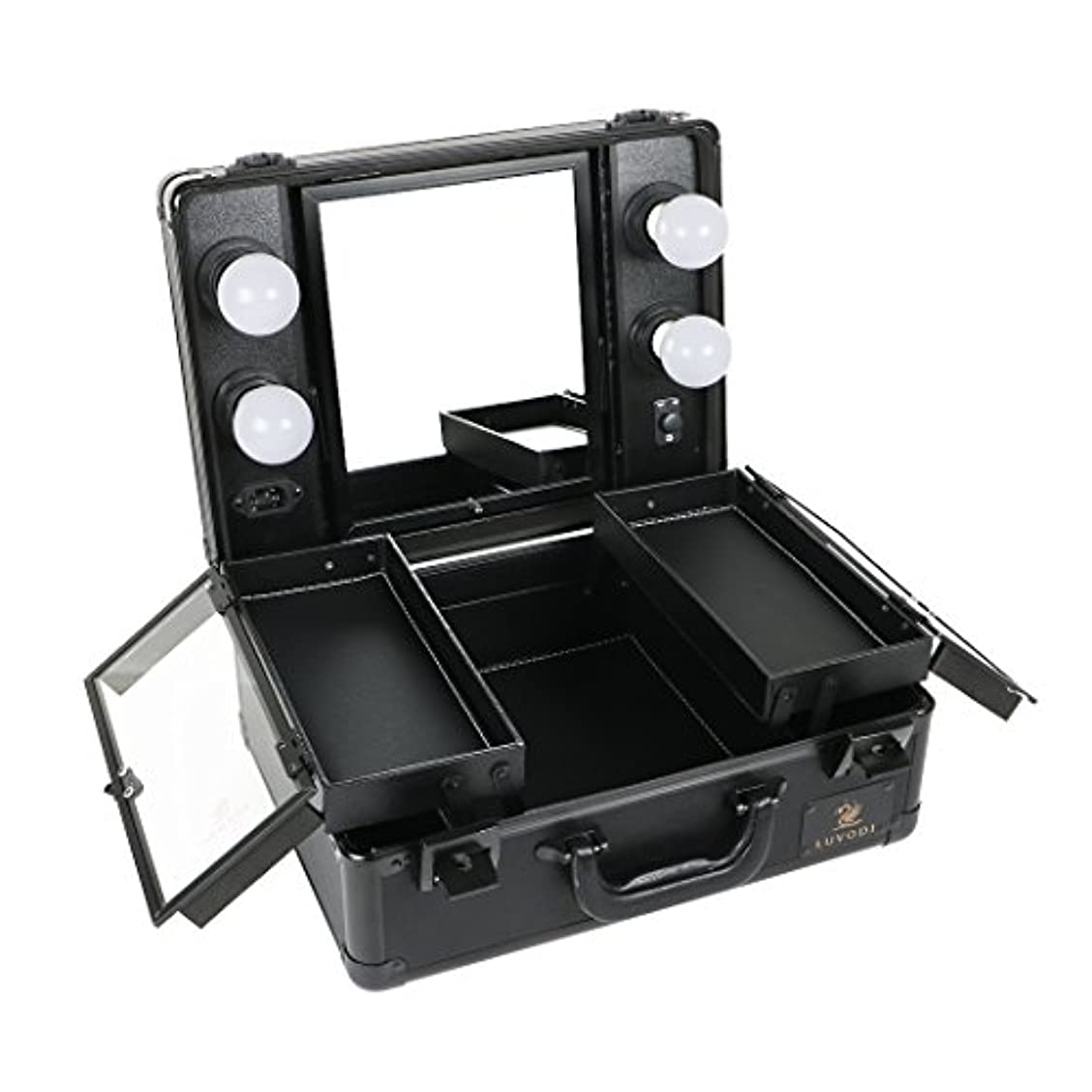 すずめどこパンサーLUVODI メイクボックス 鏡付き プロ用 コスメ収納ケース 大容量 ハリウッドミラー LEDライト 調光機能付き 卓上 ミニドレッサー 持ち運び 鏡台 鍵付き おしゃれ(黒)