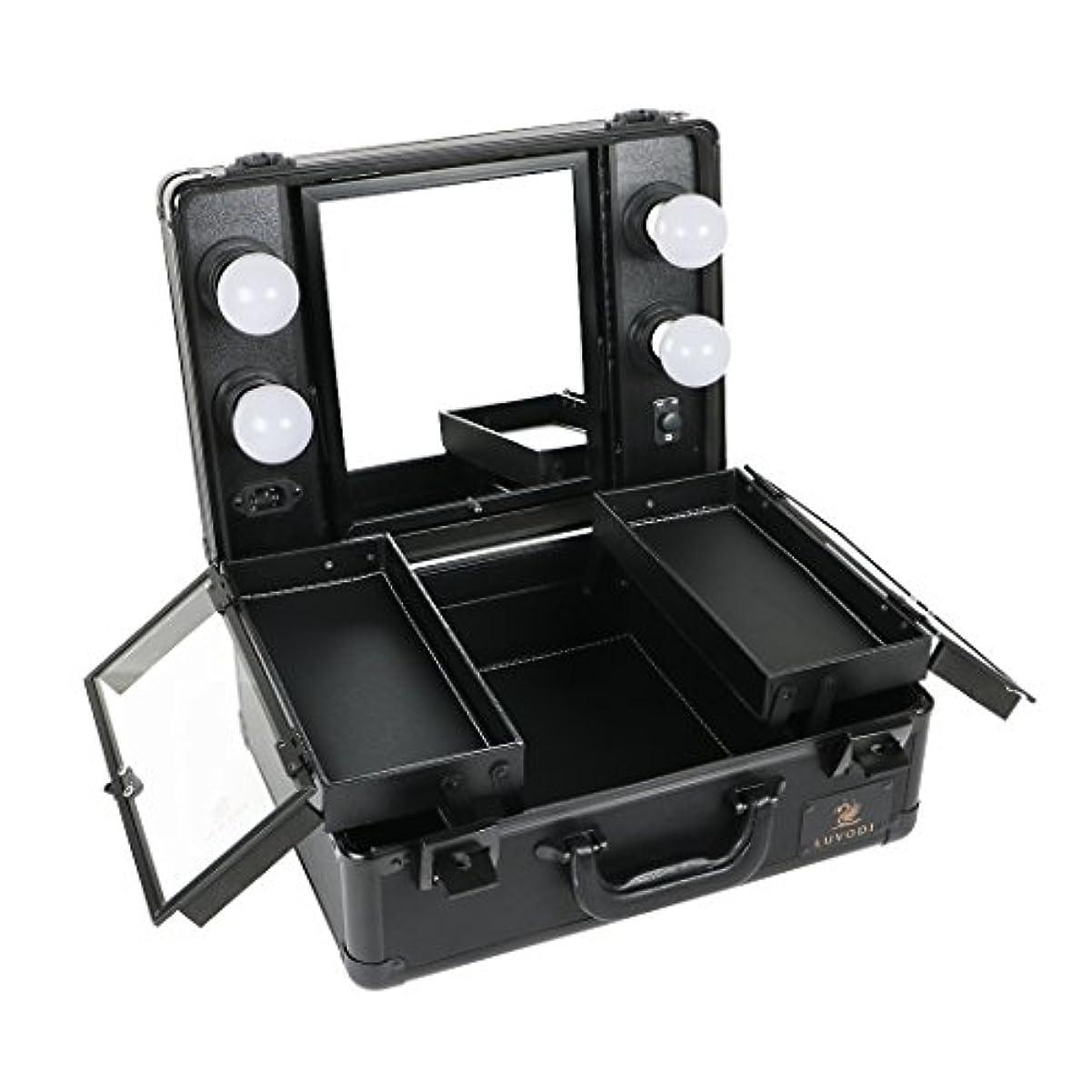 求めるぬれた知的LUVODI メイクボックス プロ用 鏡付き コスメ収納ケース 大容量 ハリウッドミラー LED ライト 電球付き 卓上 ドレッサー 鏡面/明るさ調整可能 鍵付き 持ち運び おしゃれ 35*54*23cm(黒)