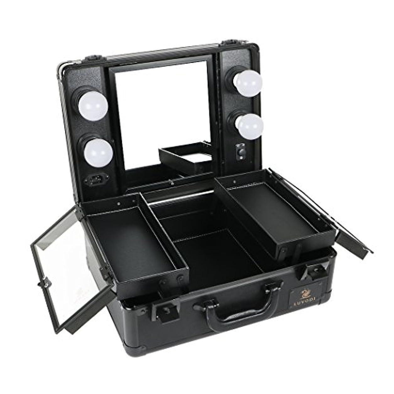 ブローホール発送ありそうLUVODI メイクボックス 鏡付き プロ用 コスメ収納ケース 大容量 ハリウッドミラー LEDライト 調光機能付き 卓上 ミニドレッサー 持ち運び 鏡台 鍵付き おしゃれ(黒)
