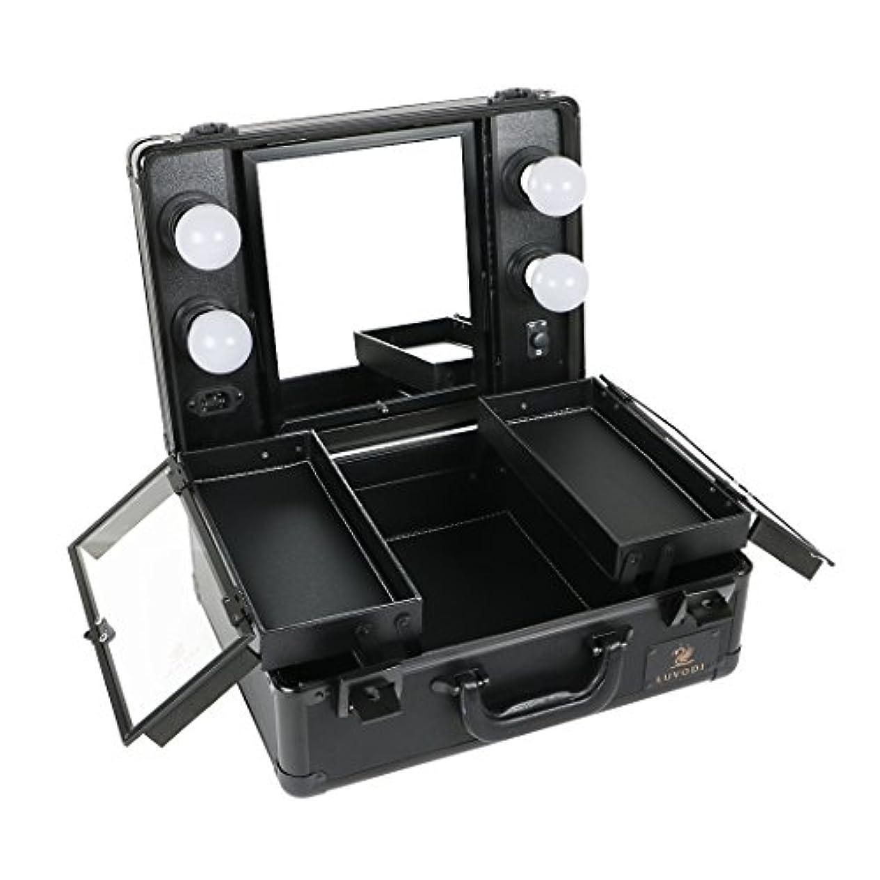 プロフェッショナル不安定な作成するLUVODI メイクボックス 鏡付き プロ用 コスメ収納ケース 大容量 ハリウッドミラー LEDライト 調光機能付き 卓上 ミニドレッサー 持ち運び 鏡台 鍵付き おしゃれ 35*54*23cm(黒)