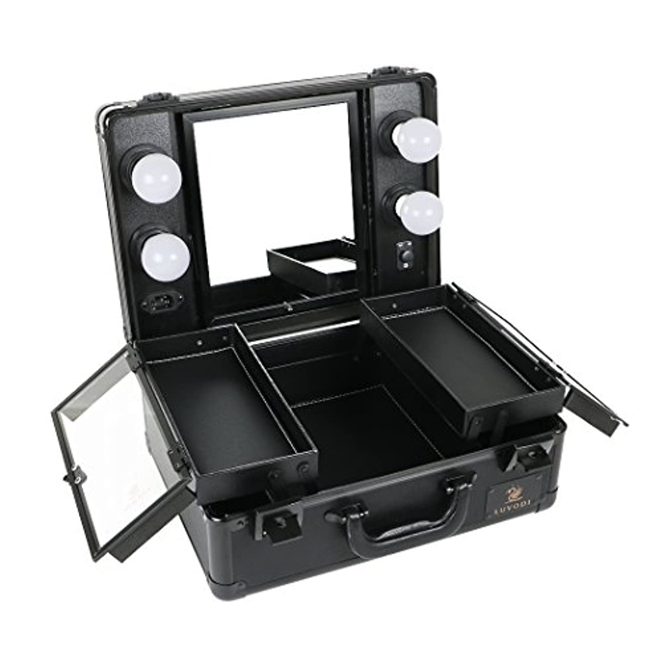 推進、動かす脳強制的LUVODI メイクボックス プロ用 鏡付き コスメ収納ケース 大容量 ハリウッドミラー LED ライト 電球付き 卓上 ドレッサー 鏡面/明るさ調整可能 鍵付き 持ち運び おしゃれ 35*54*23cm(黒)