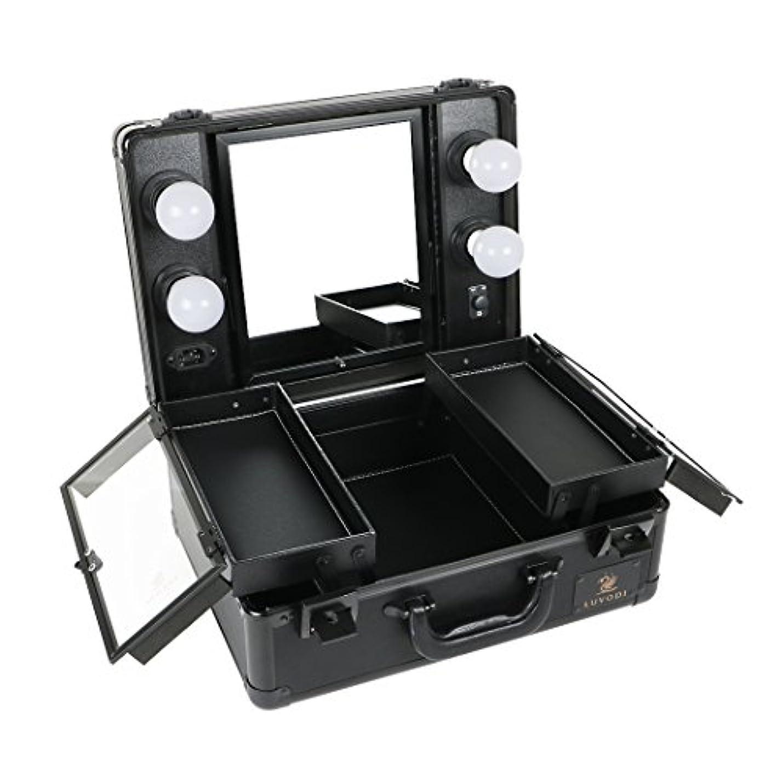 覚醒靴ビジターLUVODI メイクボックス 鏡付き プロ用 コスメ収納ケース 大容量 ハリウッドミラー LEDライト 調光機能付き 卓上 ミニドレッサー 持ち運び 鏡台 鍵付き おしゃれ(黒)
