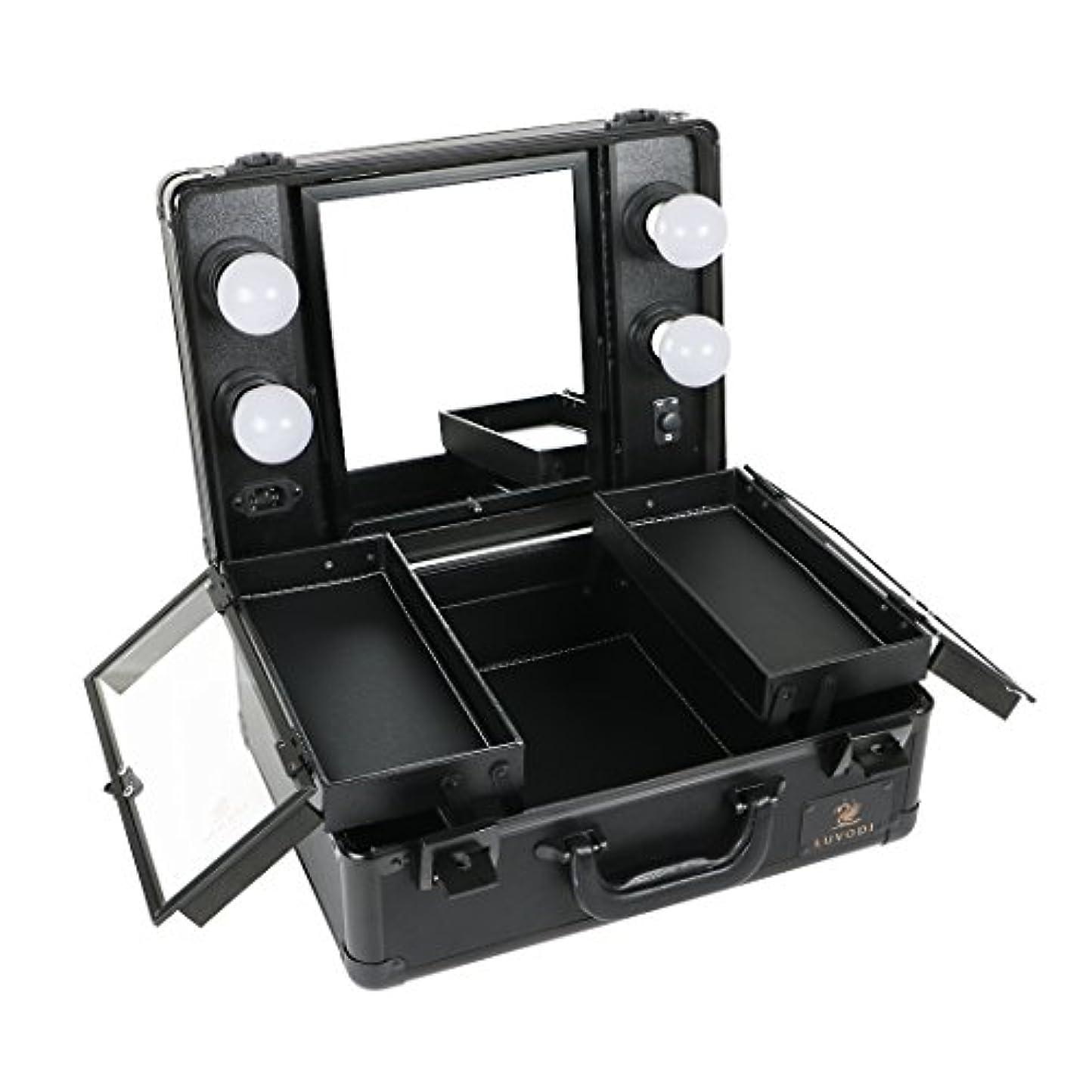 フラグラント楽観的硬いLUVODI メイクボックス 鏡付き プロ用 コスメ収納ケース 大容量 ハリウッドミラー LEDライト 調光機能付き 卓上 ミニドレッサー 持ち運び 鏡台 鍵付き おしゃれ(黒)