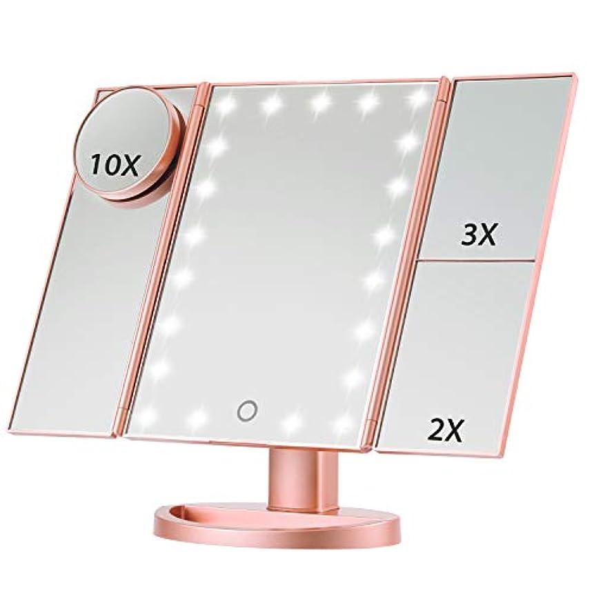 奇妙なランダム企業Magicfly 化粧鏡 LED三面鏡 ミラー 折り畳み式 10X /3X/2X拡大鏡付き 明るさ調節可能180°回転 電池/USB 2WAY給電 (ローズゴルード)