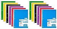 "Meadスパイラルノートブック、1件名、ワイドルールド、100枚、8x 101/ 2"" Assorted Colors ,パックof 12"