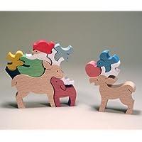 木のおもちゃ 小黒三郎 組み木 小鳥と遊ぶサンタとトナカイ S