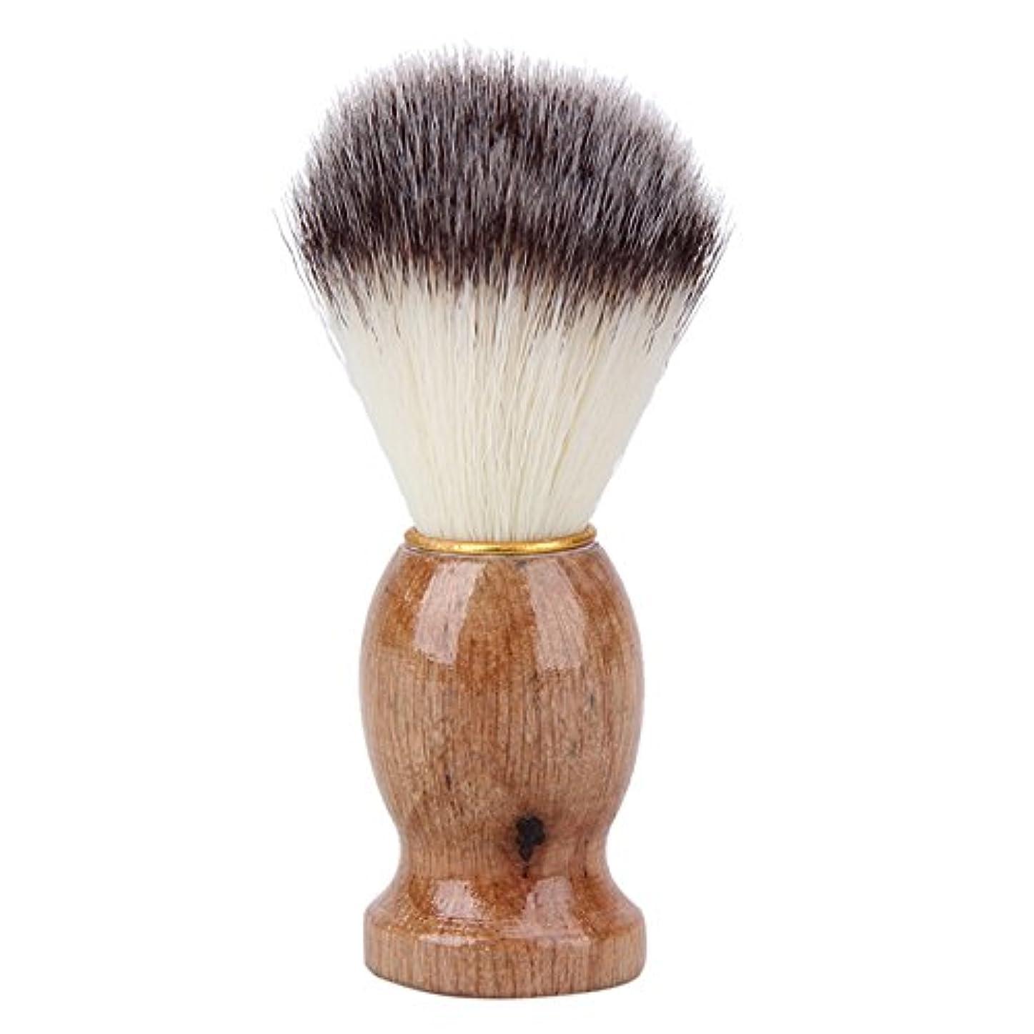 wangten メンズ用 髭剃り ブラシ シェービング ブラシ アナグマ毛 木製ハンドル 泡立ち 理容 洗顔 髭剃り