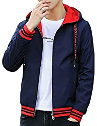 chenshiba-JP メンズカジュアルフロントジップ薄型軽量リバーシブルフードジャケット