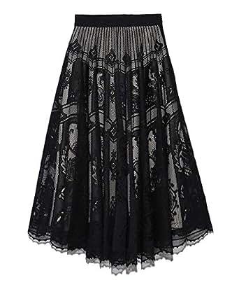 [フレイ アイディー] サーキュラーレーススカート FWFS192040 BLK 日本 0 (日本サイズ7 号相当)