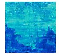 ステッチ - ブルーシティアクリル画、70 x 70 cm、手描き、XXL、抽象芸術、モダンアート