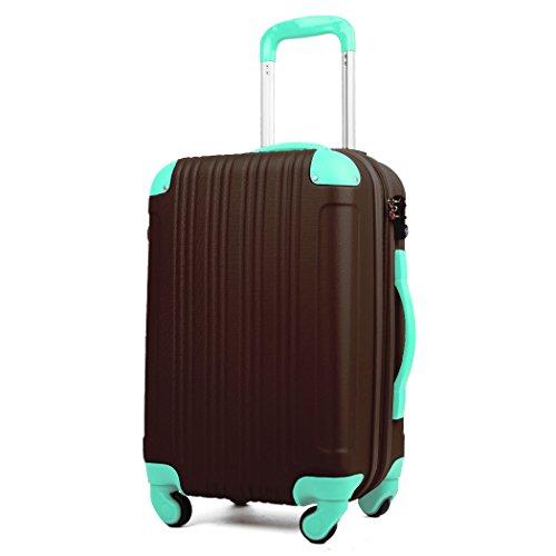 (レジェンドウォーカー) LEGEND WALKER 5082 超軽量 Wファスナー容量アップ拡張機能付 【一年修理保証】 TSAロック搭載 スーツケース (18色機内持込から4サイズ) おしゃれでかわいい キャリーケース スムーズな移動が可能な静音4輪タイプ (Lサイズ(7泊以上/88(拡張時102)L), チョコ/ミント)