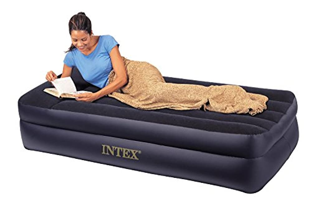 人事ニッケルバリケードIntex Comfort Bed - Rising Comfort Twin Airbed with built-in Electric Pump by Intex