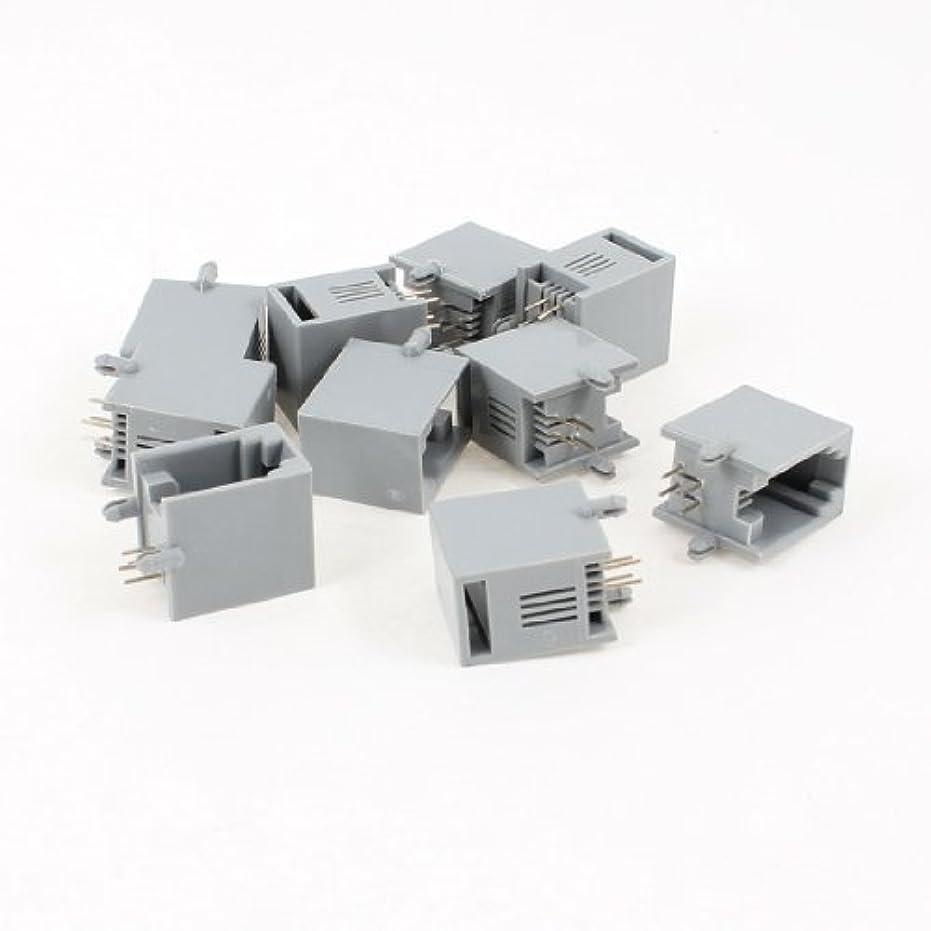 デクリメントエレクトロニック提供するuxcell ネットワークモジュラーpcbジャック コネクター ソケット プラグ 10個 直角  4P4C RJ9
