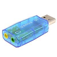 Dynamode USB仮想5.1サウンドカードオーディオアダプター2x 3.5MMソケット