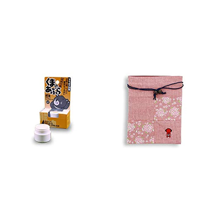 テニス形成船外[2点セット] 信州木曽 くまのあぶら 熊油スキン&リップクリーム(9g)?おねがいさるぼぼ 巾着【ピンク】