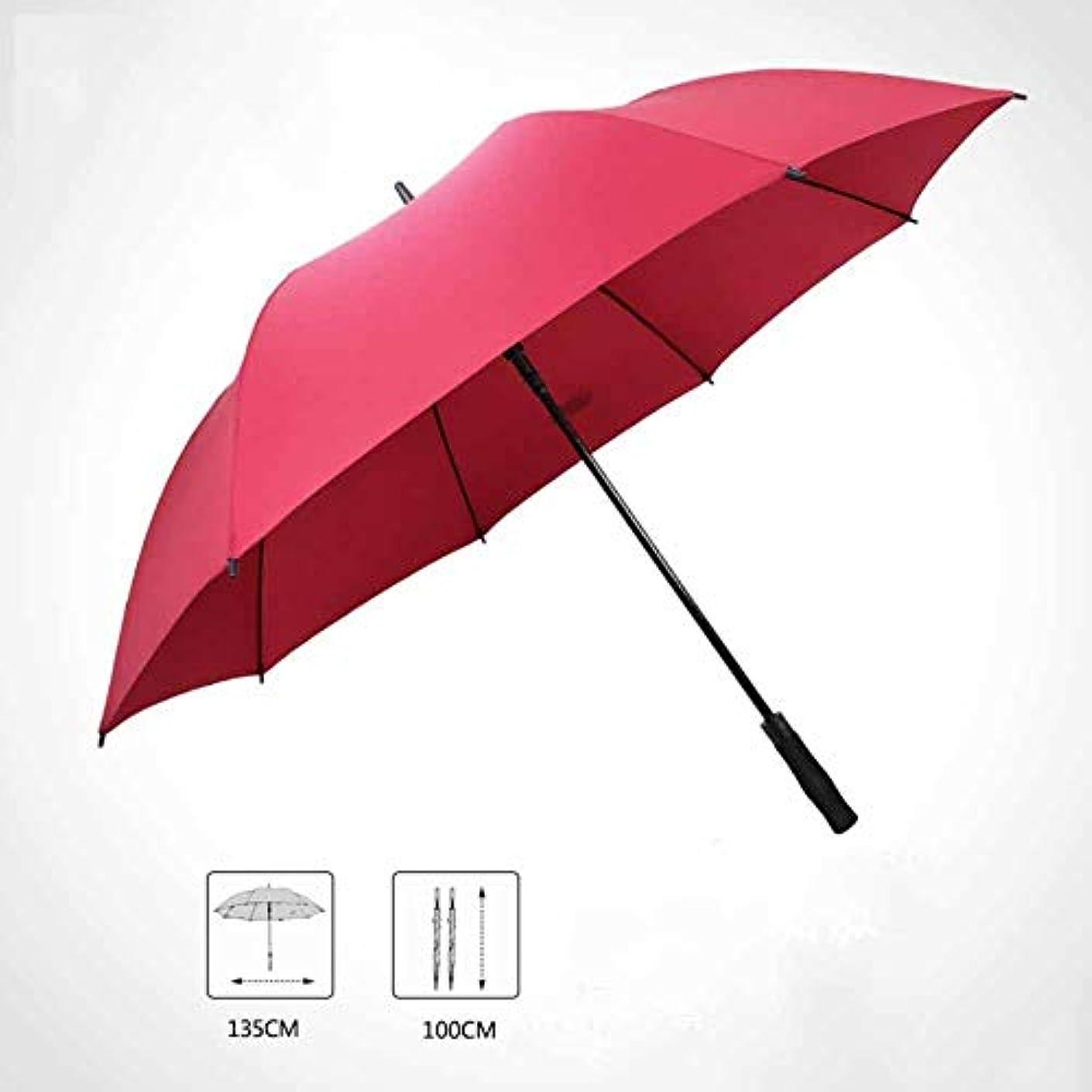 潜在的な強調一般的なChuangshengnet 傘風力発電事業長柄傘ゴルフ傘長柄傘日当たりの良い傘 (Color : 赤)