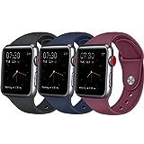 Vancle コンパチブル Apple Watch バンド 38mm 42mm,スポーツバンド ソフトシリコン iwatch バンド 44mm,Apple Watch Series 4/3/2/1に対応 (38mm/40mm-M/L, ブラック+サファイアブルー+ワインレッド)