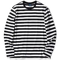 Zengjo Men's Cotton Regular Fit Striped Long Sleeve T-Shirt
