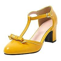[Coolulu] レディース 靴 リボン パンプス レディース t字ストラップ パンプス サイドオープン パンプス レディース 太ヒール レディース 厚底 パンプス サーズ:22 cmイエロー