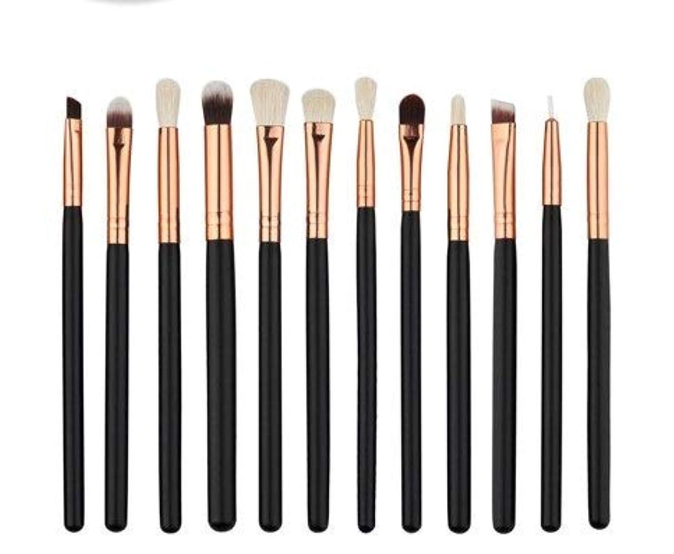 プロポーショナル特異性繊維アイシャドウブラシセット12ピース化粧アイブラシアイシャドウブレンドブラシ眉毛アイライナーリップブラシ美容ブラシ、ギフトに最適 (Color : Black)