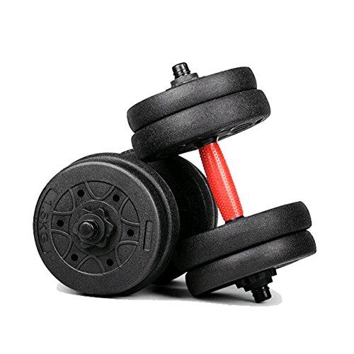 MOJEER ダンベル 5kg×2個セット (10kg) / 10kg×2個セット (20kg) ポリエチレン製 筋力トレーニング ダイエット シェイプアップ 静音 (5kg×2個セット赤)