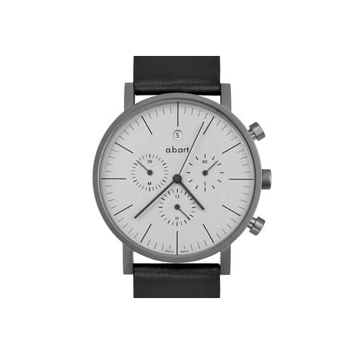 エービーアート a.b.art Men's Quartz Watch with Grey Dial Chronograph Display and Black Leather Strap OC201 男性 メンズ 腕時計 【並行輸入品】