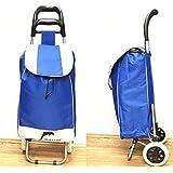 Shopping Trolley Foldable Oxford Fabrics Bags Luggage Wheels Folding Basket (Blue)