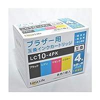 - まとめ - ワールドビジネスサプライ / - Luna/Life - / ブラザー用/互換インクカートリッジ / LC10-4PK / 4本パック / LN / BR10/4P - ×3セット -